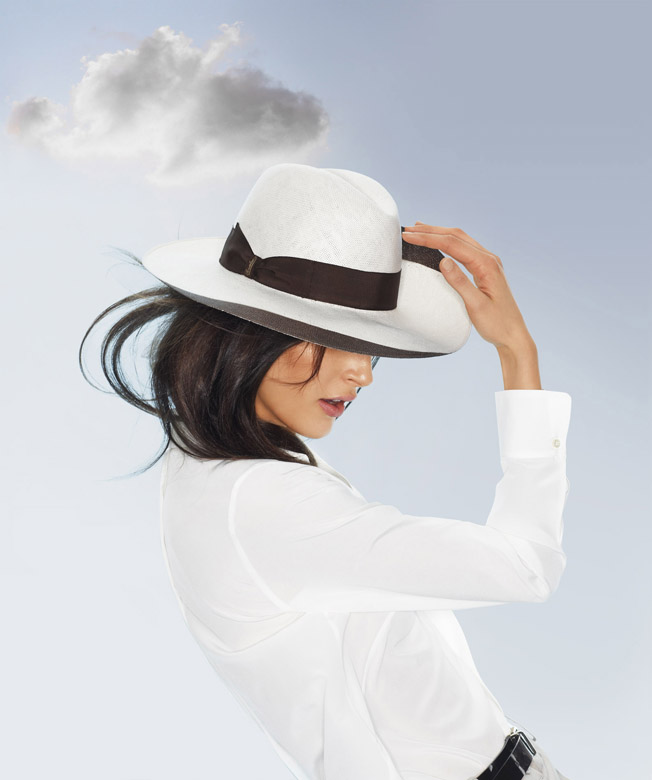 Woman-white-and-brown-hat