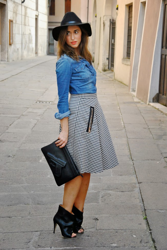 Midi skirt and denim | Style Shouts