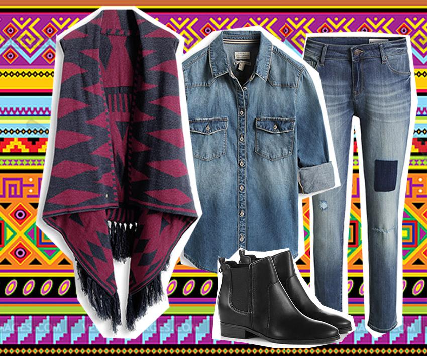 poncho-denim-boots