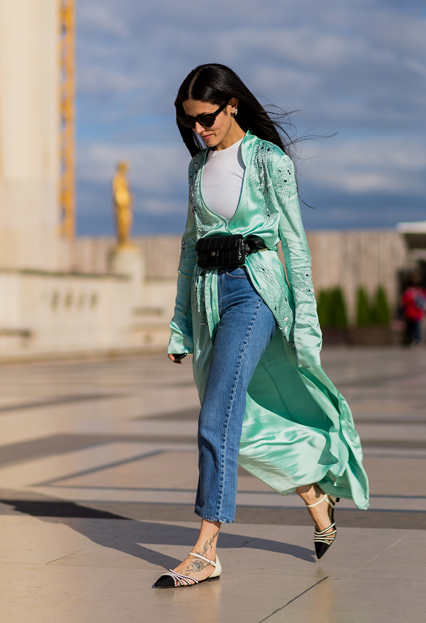 PARIS, FRANCE - JULY 05: Gilda Ambrosio wearing a mint coat, black Chanel bag, denim jeans outside Giorgio Armani Prive during Paris Fashion Week Haute Couture F/W 2016/2017 on July 5, 2016 in Paris, France. (Photo by Christian Vierig/Getty Images)